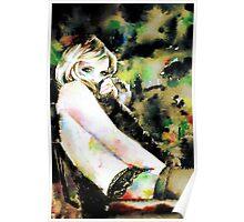 WOMAN in FUR - watercolor portrait Poster