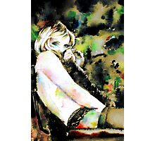 WOMAN in FUR - watercolor portrait Photographic Print