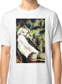 WOMAN in FUR - watercolor portrait Classic T-Shirt