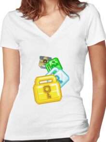 Growtopia Lock Spiral Women's Fitted V-Neck T-Shirt