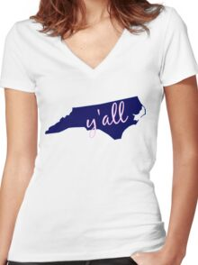 North Carolina - Home of Y'all Women's Fitted V-Neck T-Shirt