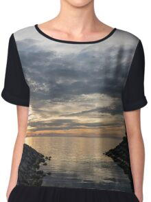 Waterscape In Gray And Yellow Chiffon Top
