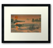 Lake - At Sunset Framed Print