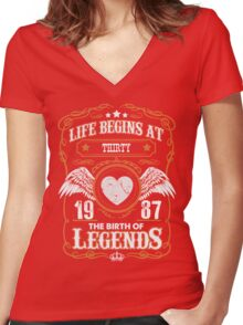 Legend Since 1987 30 Years Old Birthday Gifts T-Shirt Women's Fitted V-Neck T-Shirt