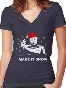 Make It Snow Star Trek Christmas Shirt Women's Fitted V-Neck T-Shirt