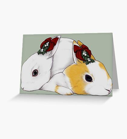 Mistletoe Rabbit Couple Greeting Card
