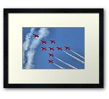 The Red Arrows - Eagle Roll - Farnborough 2014 Framed Print