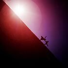 Red purple diagonal surrealist photo of people falling off earth square Hasselblad medium format film analogue by edwardolive