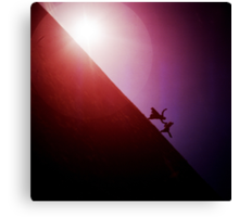 Red purple diagonal surrealist photo of people falling off earth square Hasselblad medium format film analogue Canvas Print
