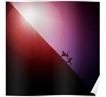 Red purple diagonal surrealist photo of people falling off earth square Hasselblad medium format film analogue Poster