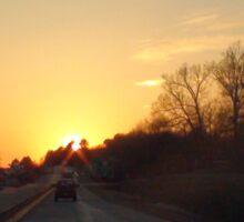 Driving into the sun Sticker