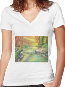 Peaceful River Scene Women's Fitted V-Neck T-Shirt