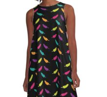 Feather Rave | Neon Colorful Feathers Print A-Line Dress