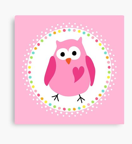 Cute pink owl with heart inside colourful polka dot border Canvas Print