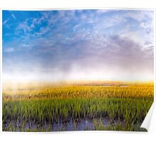 Foggy Morning On The Coastal Marshes of Georgia Poster