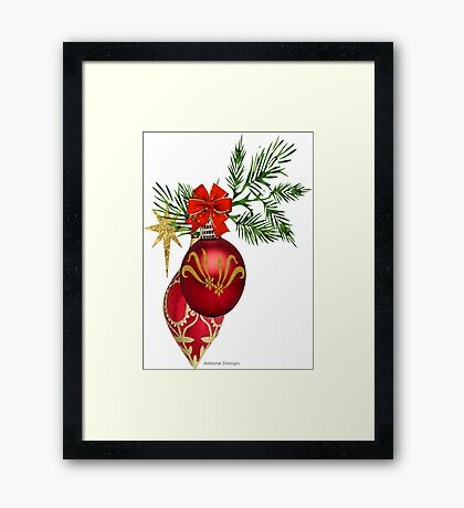 Red & Gold Ornaments Framed Print