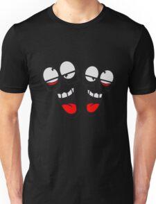 freunde 2 team party crew feiern spaß gesicht comic cartoon verrückt crazy wahnsinnig hornbrille lustig lachen verwirrt psycho bescheuert blöd idiot nerd geek schlau  Unisex T-Shirt