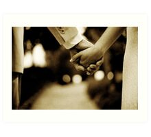 Bride and groom holding hands sepia toned black and white silver gelatin 35mm film analog wedding photograph Art Print