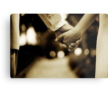 Bride and groom holding hands sepia toned black and white silver gelatin 35mm film analog wedding photograph Metal Print