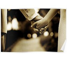 Bride and groom holding hands sepia toned black and white silver gelatin 35mm film analog wedding photograph Poster