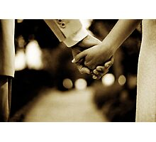 Bride and groom holding hands sepia toned black and white silver gelatin 35mm film analog wedding photograph Photographic Print