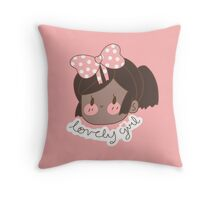Pink Bow Lovely Girl  Throw Pillow