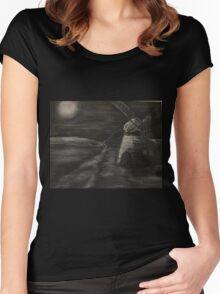 Black and White Windmill Women's Fitted Scoop T-Shirt