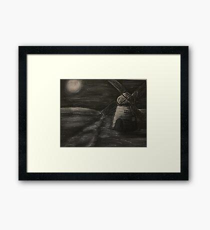 Black and White Windmill Framed Print
