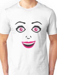 frau weiblich girl sexy gesicht grinsen comic cartoon text schrift logo design cool crazy verrückt verwirrt blöd dumm komisch gestört  Unisex T-Shirt