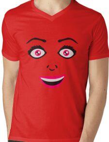 frau weiblich girl sexy gesicht grinsen comic cartoon text schrift logo design cool crazy verrückt verwirrt blöd dumm komisch gestört  Mens V-Neck T-Shirt