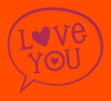 """LOVE BUBBLE modern typography heart """"love you"""" Kids Clothes"""