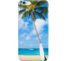 Coconut Palm tree with curfboard in Hawaii iPhone Case/Skin