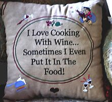 PILLOW ART-COOKING WITH WINE-SERIES 2 by JAYMILO