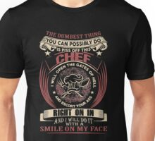 The Dumbest Thing You Can Possibly Do Is Piss Off This Chef I Will Open The Gates Of Hell And Escort Your Ass Right On In And I Will Do It With A Smile On My Face Unisex T-Shirt