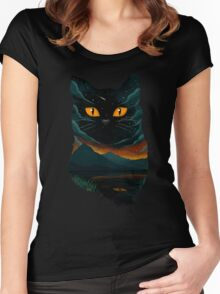 black cat 1 Women's Fitted Scoop T-Shirt