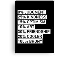 100% BRONY (Black & White) Canvas Print