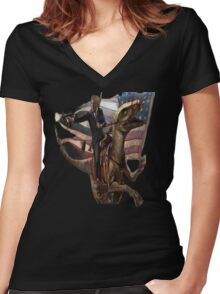 Donald Trump Riding A dinosaur Women's Fitted V-Neck T-Shirt