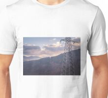 Mountains with electric pillar Unisex T-Shirt