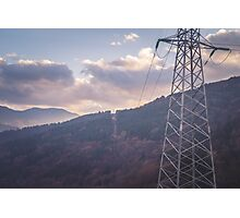 Mountains with electric pillar Photographic Print
