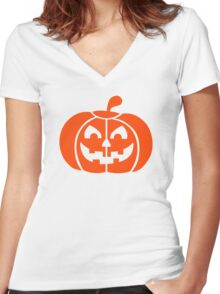 Halloween pumpkin Women's Fitted V-Neck T-Shirt