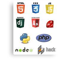web developer programming language set v2 Canvas Print
