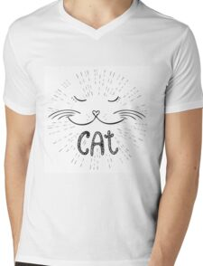 Cute cat, Hand drawn Mens V-Neck T-Shirt