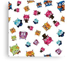 cute owls. hand drawing cartoon characters Canvas Print