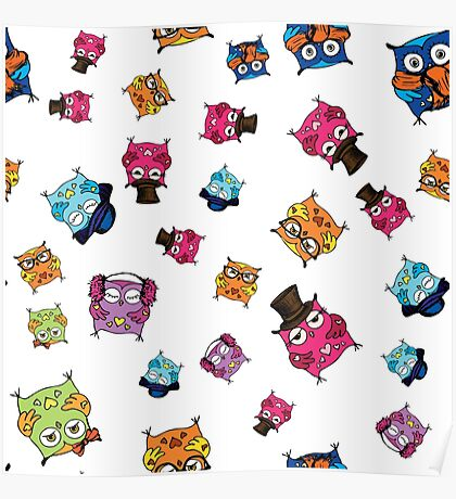 cute owls. hand drawing cartoon characters Poster