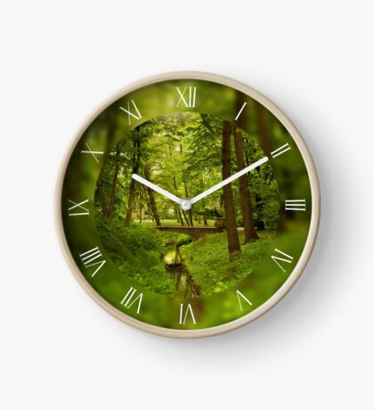 Green spring leafy trees Clock
