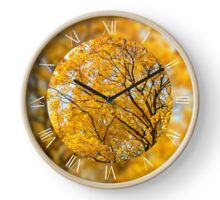 Yellow leafy autumn trees Clock