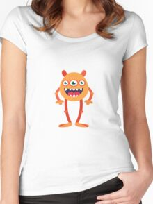 three Eye Monster scary face Women's Fitted Scoop T-Shirt
