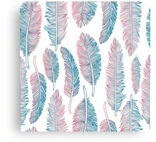 Hipster Watercolor Handdrawn blue pink feathers Canvas Print
