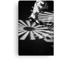 Feet of girl dancing in nightclub lights black and white silver gelatin 35mm film analog photograph Canvas Print
