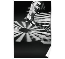 Feet of girl dancing in nightclub lights black and white silver gelatin 35mm film analog photograph Poster